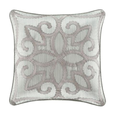"Five Queens Court Nouveau 18"" Square Embellished Decorative Throw Pillow"