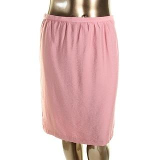 Anne Klein Womens Duppioni Gathered Knee-Length Straight Skirt