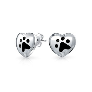 Bling Jewelry 925 Silver Black Enamel Paw Print Heart Stud Animal Earrings