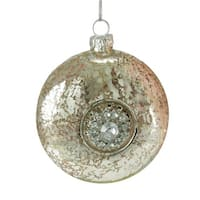 "3.5"" Silent Luxury Silver with Gem Snowflake Medallion Glass Disk Christmas Ornament"