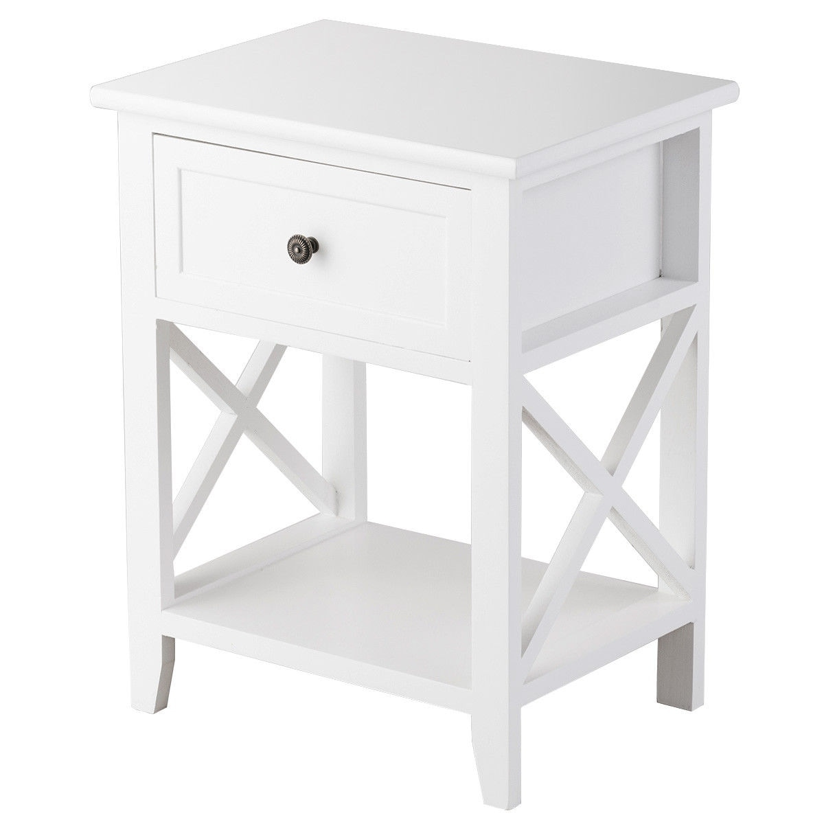 uk availability b93cc 58b2d Costway End Bedside Table Nightstand Drawer Storage Room Decor W/Bottom  Shelf White