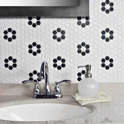 """SomerTile Metro Hex Matte White with Flower 10.25""""x11.88"""" Porcelain Mosaic Floor and Wall Tile"""