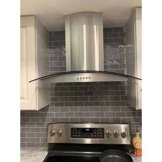 "Winflo O-W101C30D 30"" Convertible Stainless Steel Glass Wall Mount Range Hood"