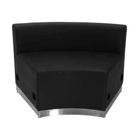 "LeatherSoft Concave Chair with Brushed Stainless Steel Base - 41.5""W x 25.25""D x 27""H"