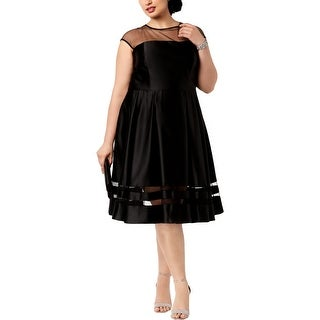 Betsy & Adam Womens Plus Cocktail Dress Sleeveless Illusion