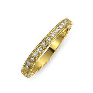 Bling Jewelry Gold Plated 925 Silver Vintage Style CZ Milgrain Wedding Band