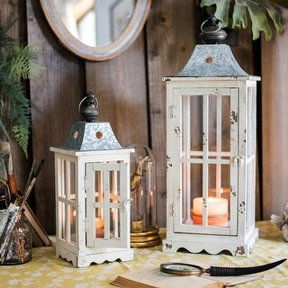 RusticReach Lantern House Candle Holder in White