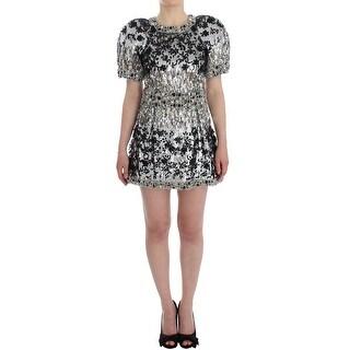 Dolce & Gabbana Dolce & Gabbana Crystal Silver Runway Handmade Dress - it40-s