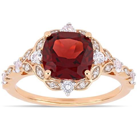 Miadora 14k Rose Gold Garnet / White Sapphire / Diamond Ring