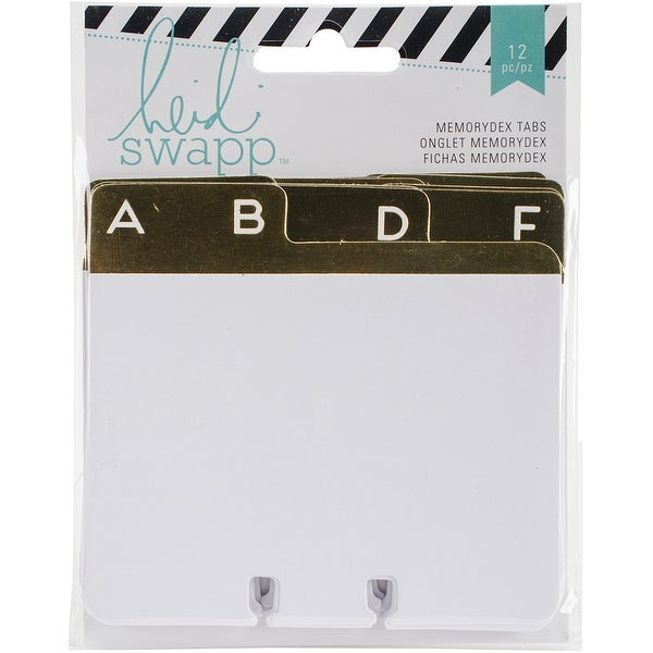 "Heidi Swapp Memorydex Address Tabbed Card Dividers 12/Pkg-W/Gold Foil Alphabet 3.75""X4"""