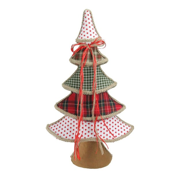 """23"""" Holiday Moments Red, Green and White Plaid and Polka Dot Christmas Tree Decoration"""