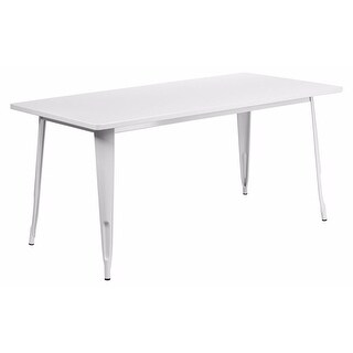 "Offex 31.5"" x 63"" Rectangular White Metal Indoor Table [OF-ET-CT005-WH-GG]"