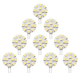 LED 12Volt DC G4 Cabinet Replacement Bulbs RV Marine Yacht Boat Motorhome Side-pin Cool White (Pack of 10)