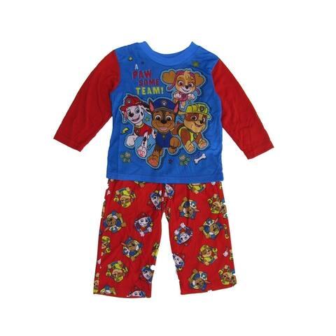 Nickelodeon Little Boys Red Blue Paw Patrol Crew Neck 2 Pc Sleepwear Set