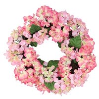 """22"""" Pink and Green Floral Hydrangea Wreath - Unlit"""