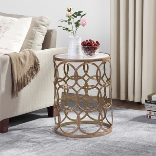 Link to FirsTime & Co.®  Gilded Circles Table, Iron, 16.75 x 16.75 x 22 in, American Designed - 16.75 x 16.75 x 22 in Similar Items in Living Room Furniture