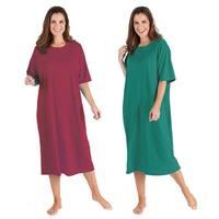 Catalog Classics Women's Long Henley Nightshirts - Set of 2 Pajama Sleep Shirts