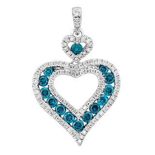 Prism Jewel Blue Color Diamond & Diamond Heart Shaped Pendant - White G-H