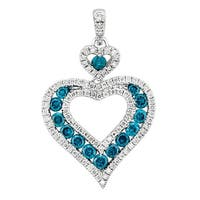 Prism Jewel Blue Color Diamond & Diamond Heart Shaped Pendant - White G-H