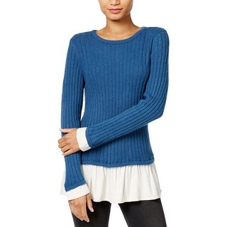 Kensie Womens Pullover Sweater Knit Contrast Trim