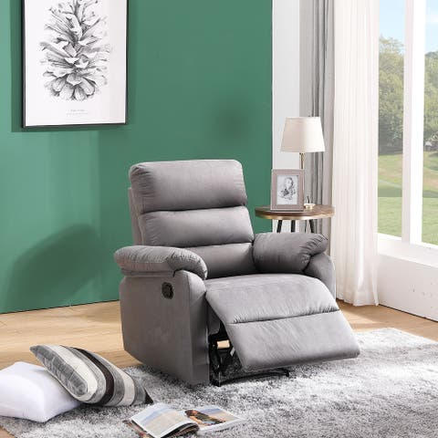 Global Pronex Fabric/Wood Manual Recliner Chair & Relax Louge, Grey/Brwon/Red