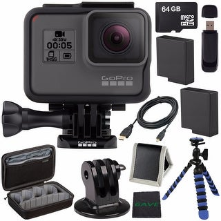 GoPro HERO5 Black CHDHX-501 + Replacement Lithium Ion Battery For GoPro Hero5 + 64GB microSDXC Card + HDMI Cable Bundle