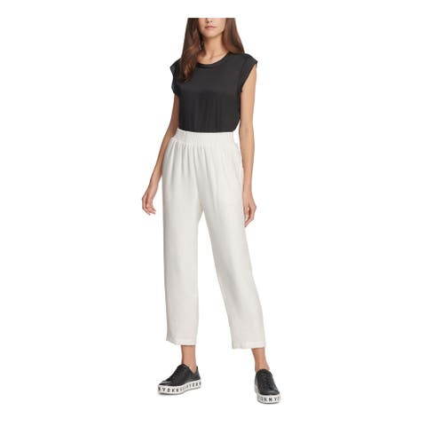 DKNY Womens Ivory Cropped Pants Size L