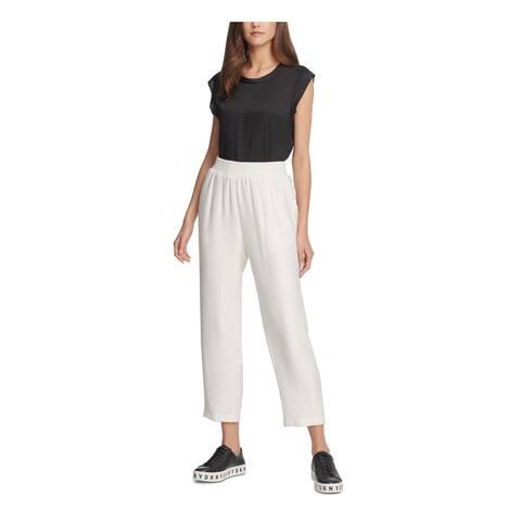 DKNY Womens White Cropped Pants Size XL