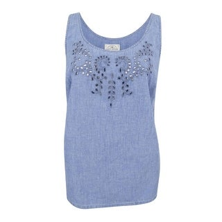 Lucky Brand Women's Trendy Plus Size Denim Eyelet Tank Top (Aqua, 1X) - 1x