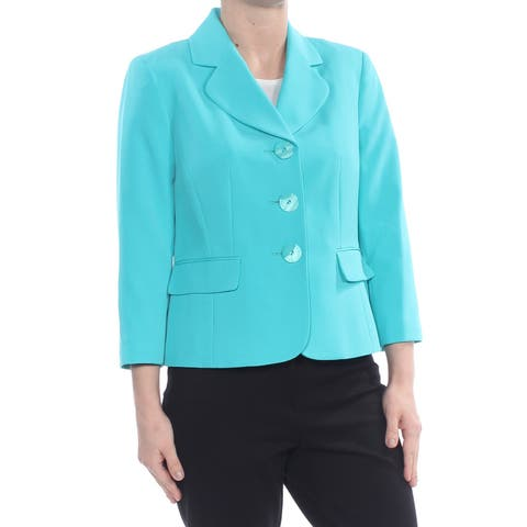 LE SUIT Womens Turquoise Blazer Wear To Work Jacket Petites Size: 4
