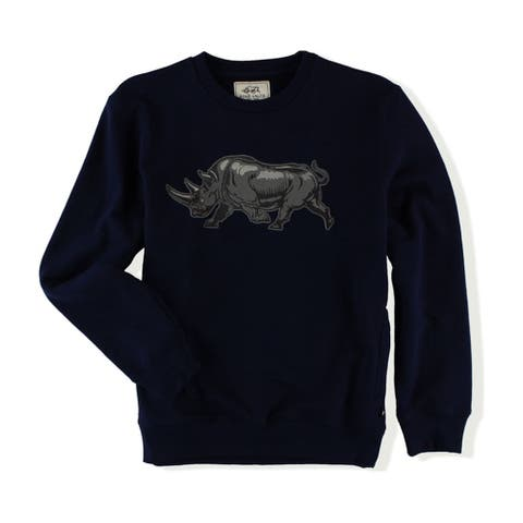 Ecko Unltd. Mens Embroidered Rhino Sweatshirt, Blue, X-Small