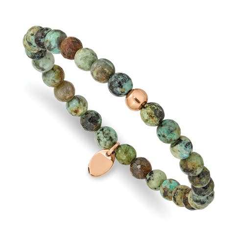 Chisel Stainless Steel Polished Rose IP-plated African Turquoise Stretch Bracelet