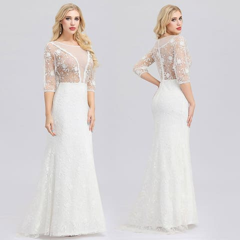 Ever-Pretty Womens Elegant Illusive Floral Lace Bridal Gowns 00932