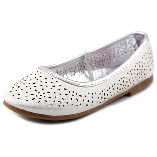 Rugged Bear Flower Cutout Flat Youth Round Toe Synthetic Silver Flats