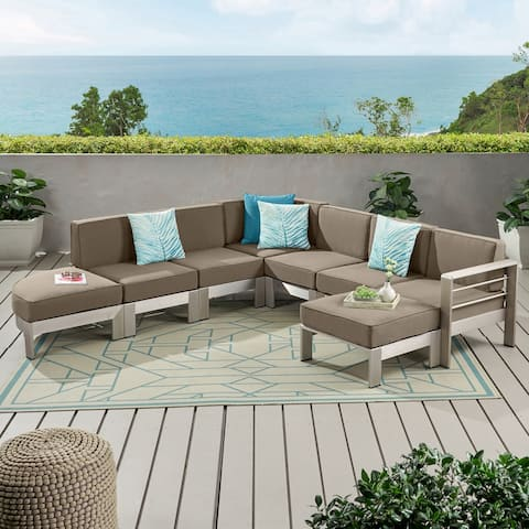 Cape Coral Half Round 5 Seater Sectional Set with Ottoman by Christopher Knight Home