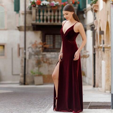 Ever-Pretty Women's V-Neck Velvet Long Evening Prom Party Dress 07181
