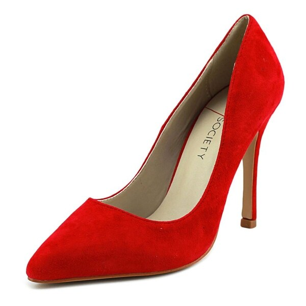 Sole Society Aiken Women Pointed Toe Suede Red Heels