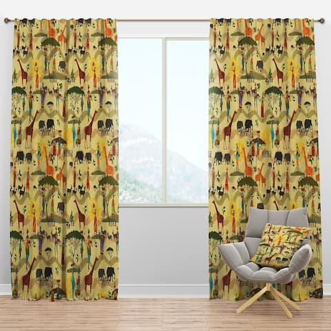 Designart 'Ethnic African Texture' Tropical Blackout Curtain Panel