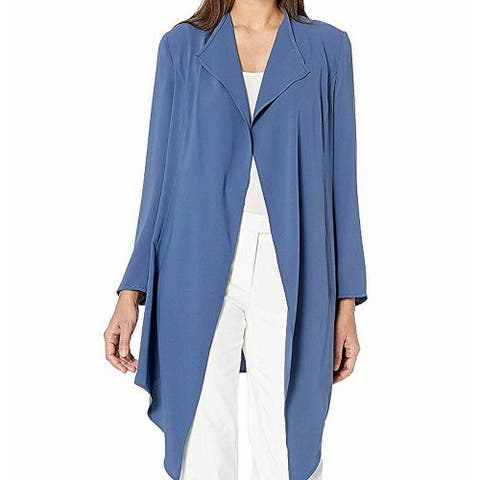 Anne Klein Womens Jacket Blue Size Medium M Drape Front Long Solid