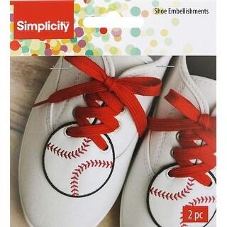 "White Baseball 2.5""X2.5"" - Wrights Shoe Wing Embellishment 2/Pkg"