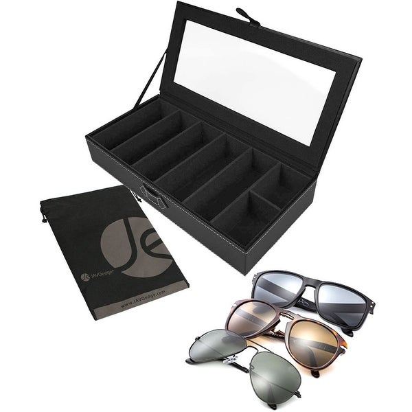 5 Slot Eyeglasses / Sunglasses Plus 2 Extra Slot for Jewelry Rings or Earrings Clear Display Case for Traveling - Black