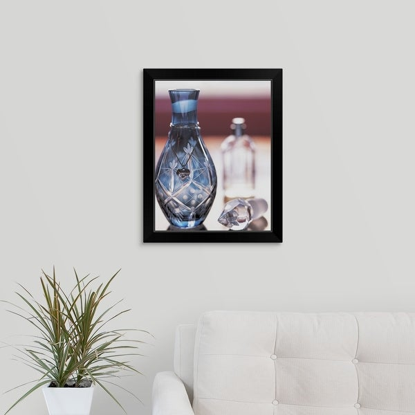 """""""Ornate Perfume Bottle with Heart Shaped Necklace"""" Black Framed Print"""