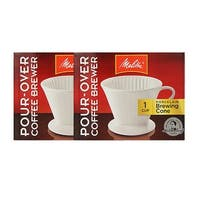 Melitta 64101 Porcelain 2 Cone Brewer (2-Pack) Porcelain #2 Pour Over Cone