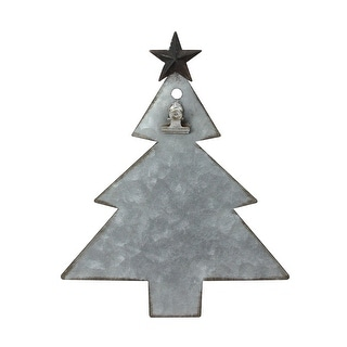 """9"""" Galvanized Metal Tree with Clip Christmas Photo Holder Display Stand"""