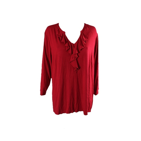 255739d65b7 Shop Charter Club Plus Size Red Ruffled V-Neck Jersey Top 3X - Free ...