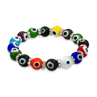 Evil Eye Multi Color Stretch Crystal Bracelet Silver Plated