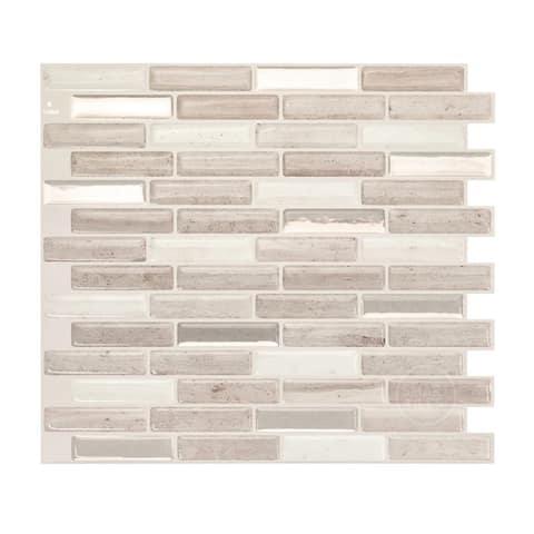 Smart Tiles Self Adhesive Wall Tiles - Milenza Vasto - 4 Sheets of 10.20'' x 9'' Kitchen and Bathroom Stick on Tiles