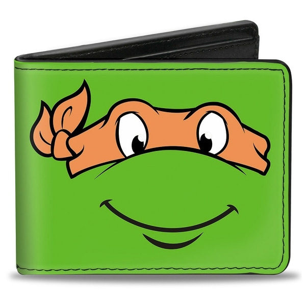 Classic Tmnt Michelangelo Face Close Up Green Orange Bi Fold Wallet - One Size Fits most