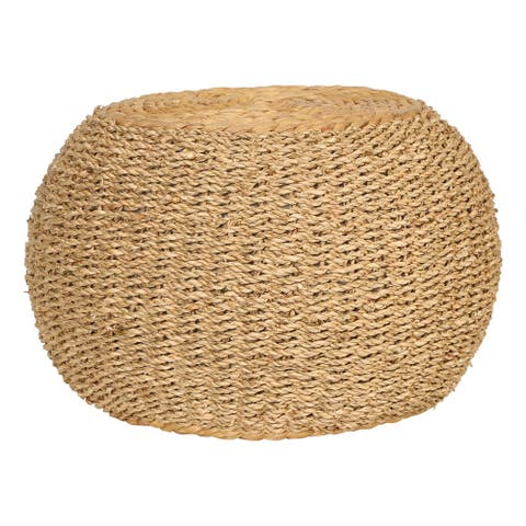 "10""H Handwoven Seagrass & Water Hyacinth Pouf or Pedestal"