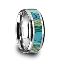 KAUI Titanium Mother Of Pearl Inlaid Men's Beveled Wedding Band - 8mm